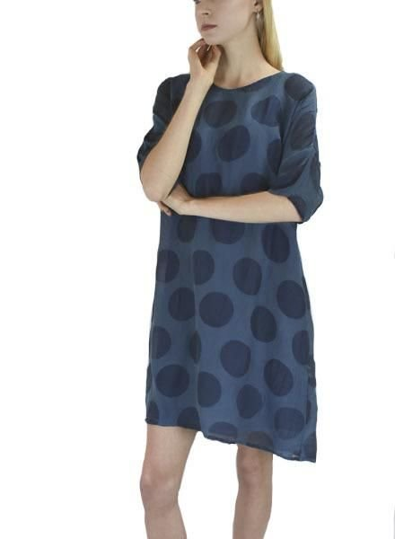 Griza's Bubble Print Tunic Dress In Cyan