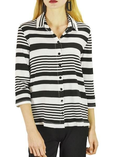 Alembika Alembika Button Down Big Tee In B&W Stripe