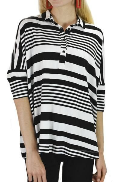Alembika Alembika Big Tee In B&W Stripe