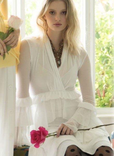 Petit Pois' Romantic Top In White