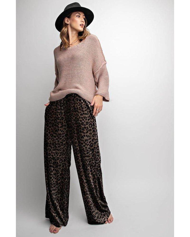 Velvet Leopard Palazzo Pants In Ash