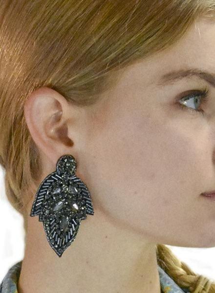 Jeweled Leaf Earrings In Black