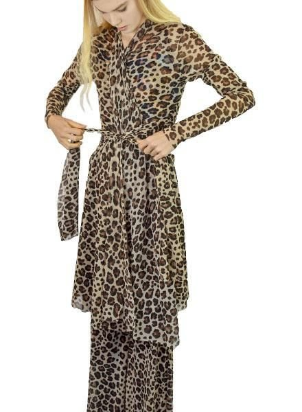 Petit Pois' Leopard Print Duster/Wrap Dress