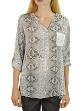 Snake Skin Shirt With A Sequine Pocket In Black & White