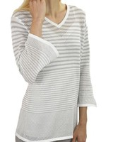 French Dressing French Dressing Down On The Dock Top In Taupe & White