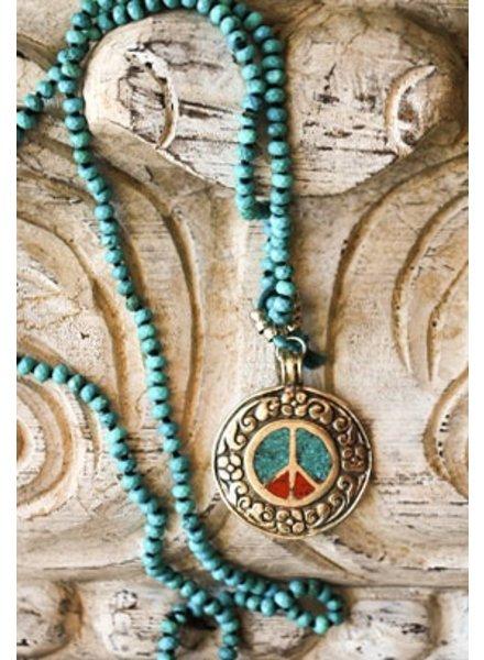 "Cheryl Dufault Designs Designer Cheryl Dufault's 40"" Turquoise & Coral Necklace"