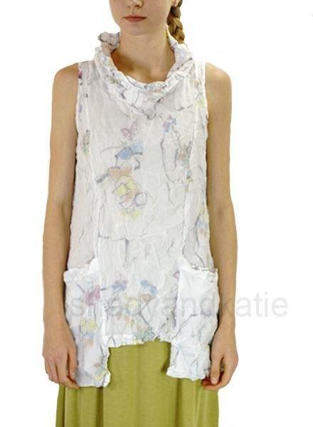 Comfy's Debra Double Layer Tunic In White Multi Print