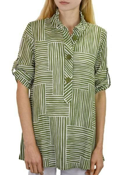 Terr's Patch Stripe Top In Grass Green