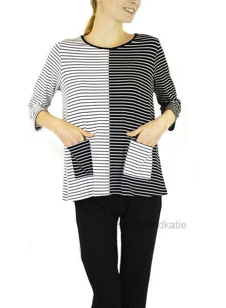 Comfy's Eleana Top In Black & White Stripe