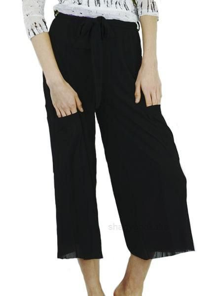 Petit Pois Cropped Wide Leg Pant In Black