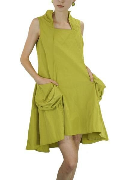 Comfy's Sun Kim Memory Dress In Chartreuse