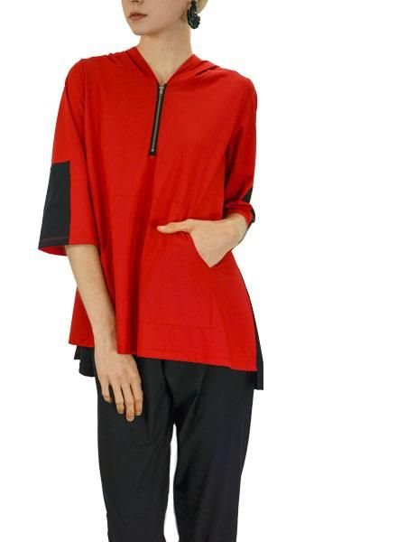 Comfy's Jason Margaret Hoody Tunic In Black & Red