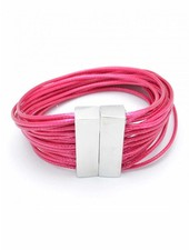 Magnetic Layered Rope Bracelet In Hot Pink
