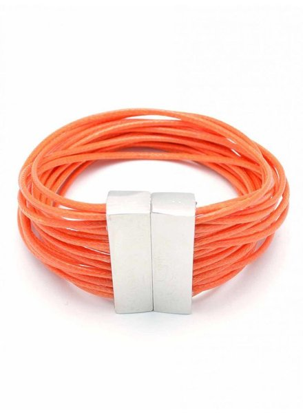 Magnetic Layered Rope Bracelet In Orange