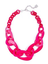 Mod Resin Links Necklace In Hot Pink