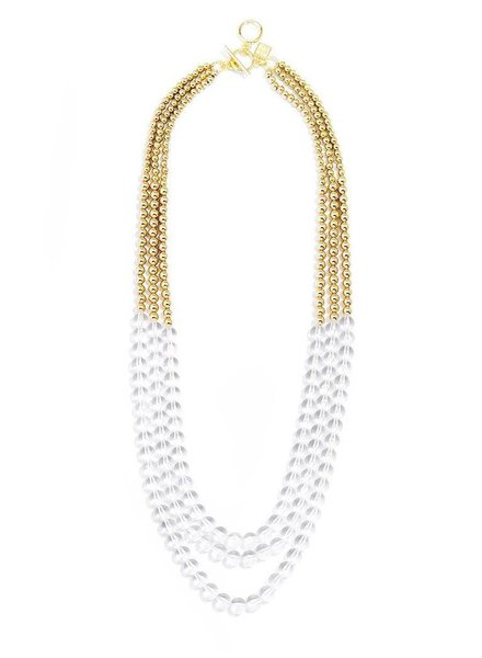 Beaded Lucite And Gold Long Necklace