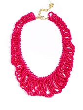 In The Loop Beaded Bib Necklace In Hot Pink