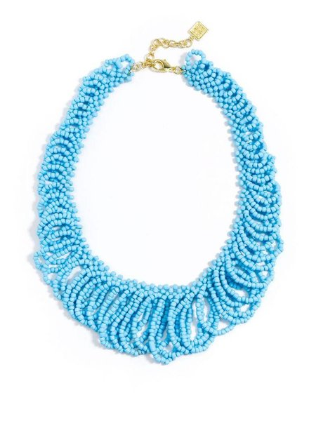In The Loop Beaded Bib Necklace In Bright Blue