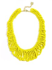 In The Loop Beaded Bib Necklace In Yellow