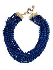Multi Strand Matte Necklace In Navy