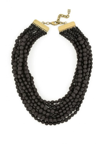 Multi Strand Matte Necklace In Black