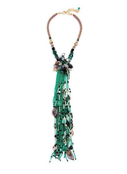 My Kinda Of Flower Fringe Necklace! - Greens