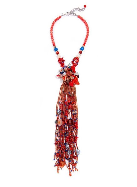 My Kinda Of Flower Fringe Necklace! -Coral