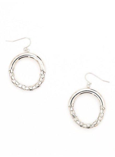 Mesh Hoop Earrings In Silver