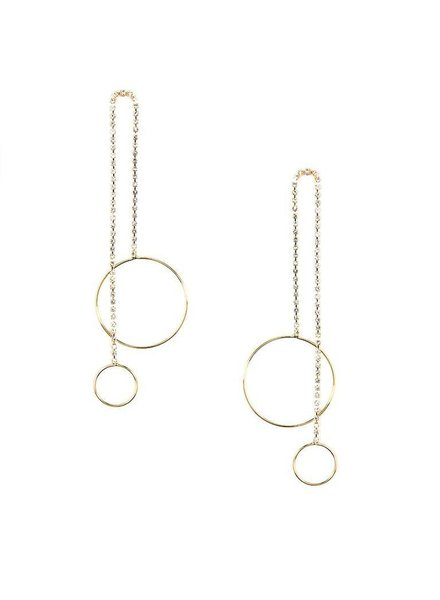 Crystal Embellished Double Drop Earrings in Gold