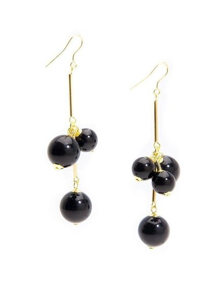 Opaque Ball Cluster Earrings In Black