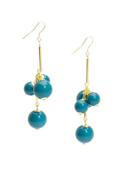 Opaque Ball Cluster Earrings In Teal