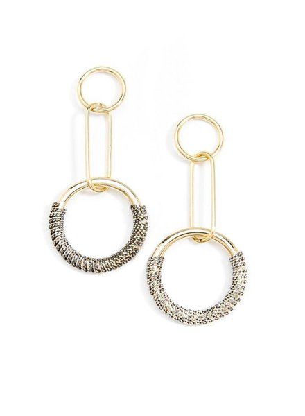 Ombre Chain Circle Earrings In Black & White