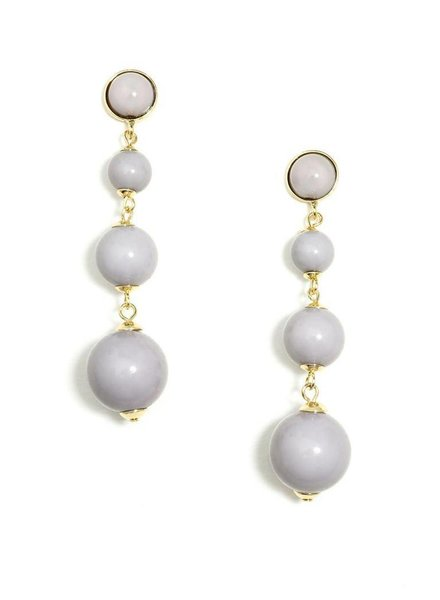 Ball Drop Earrings In Grey