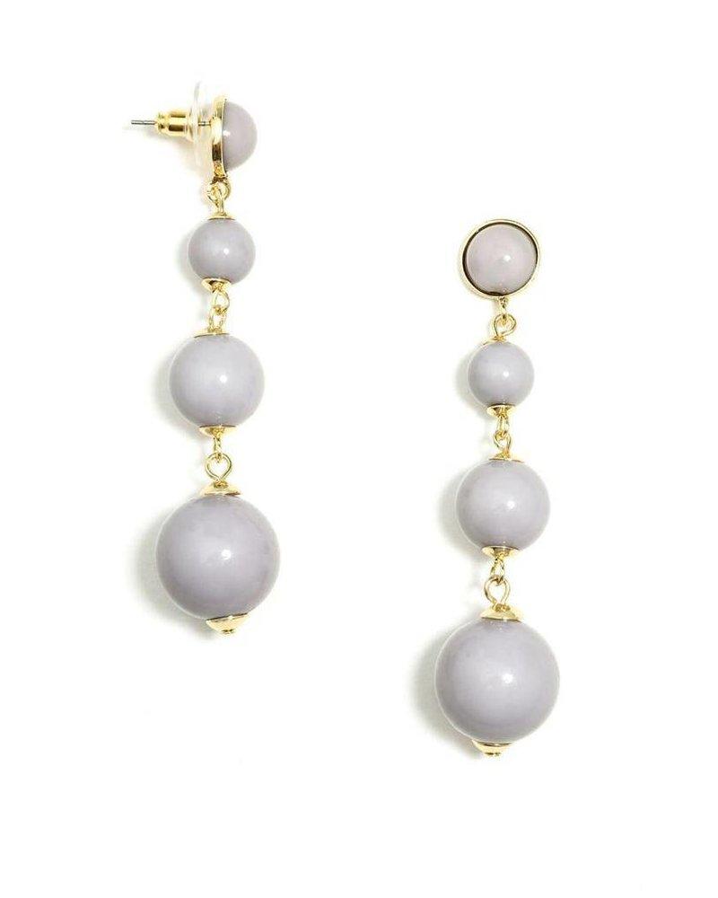 Ball Drop Earrings In Grey