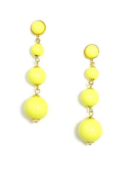 Ball Drop Earrings In Yellow