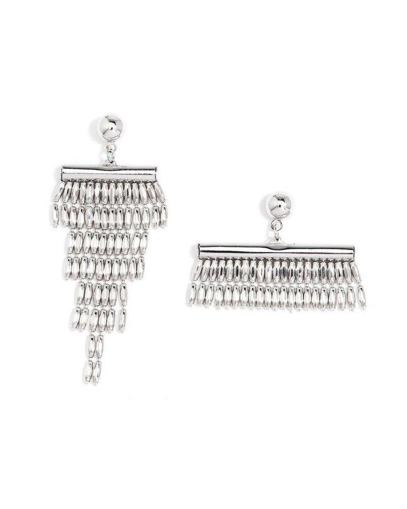 Asymmetrical Fringe Earrings In Silver