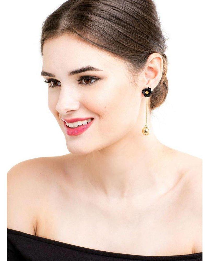 Flower Bud Earrings In White