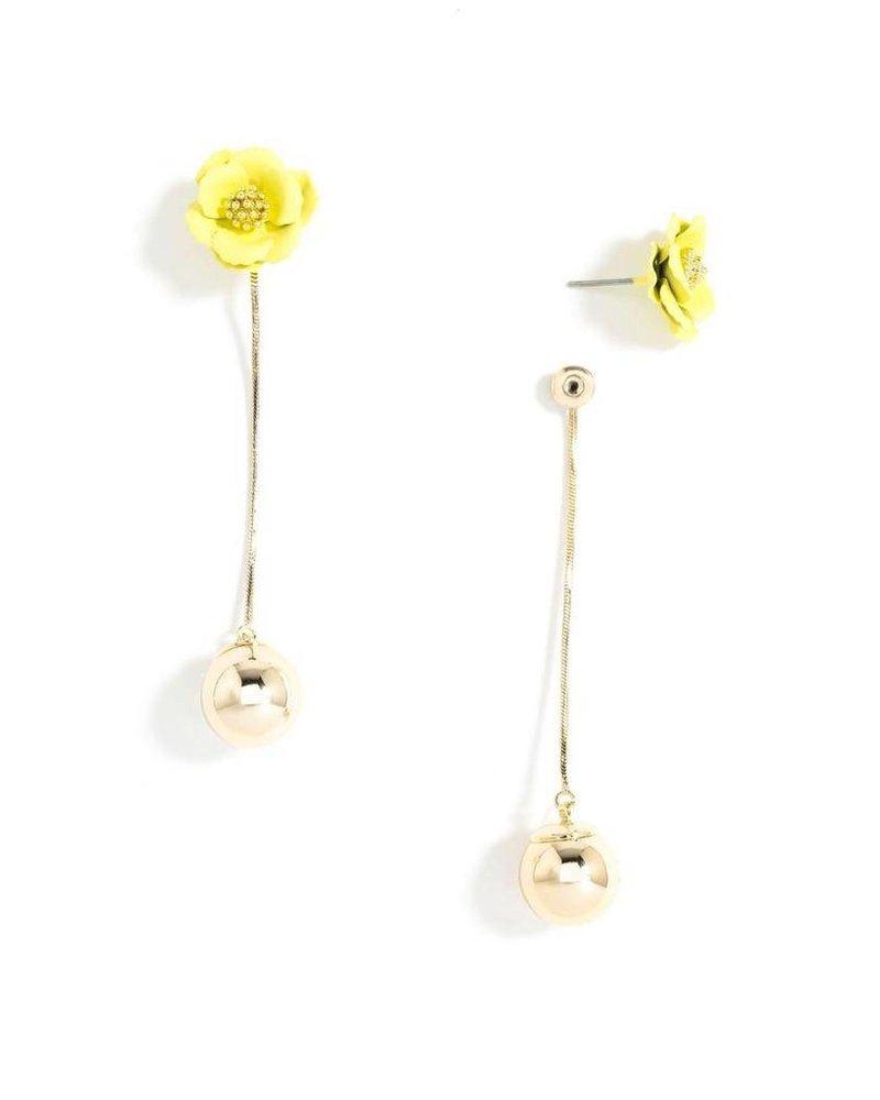 Flower Bud Earrings In Yellow