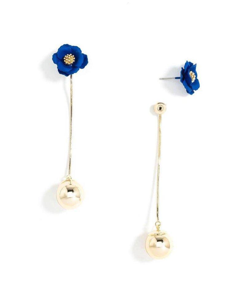Flower Bud Earrings In Cobalt