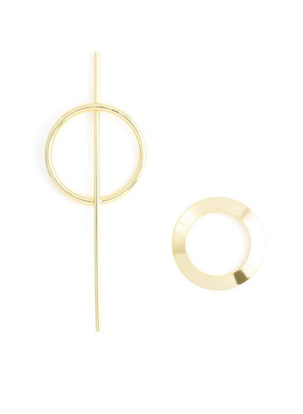 Asymmetrical Sword And Shield Earrings In Gold