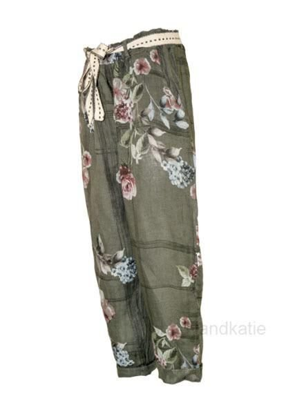 Italian Linen Flower Capri In Army Green