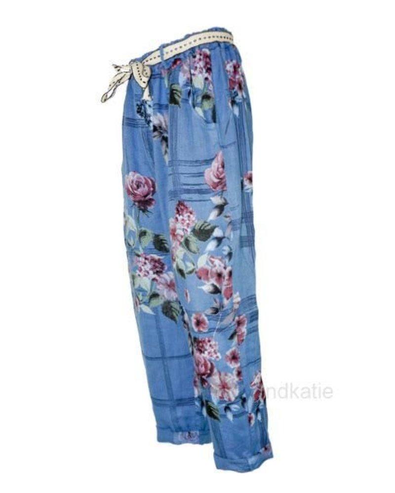 Italian Linen Flower Capri In Blue