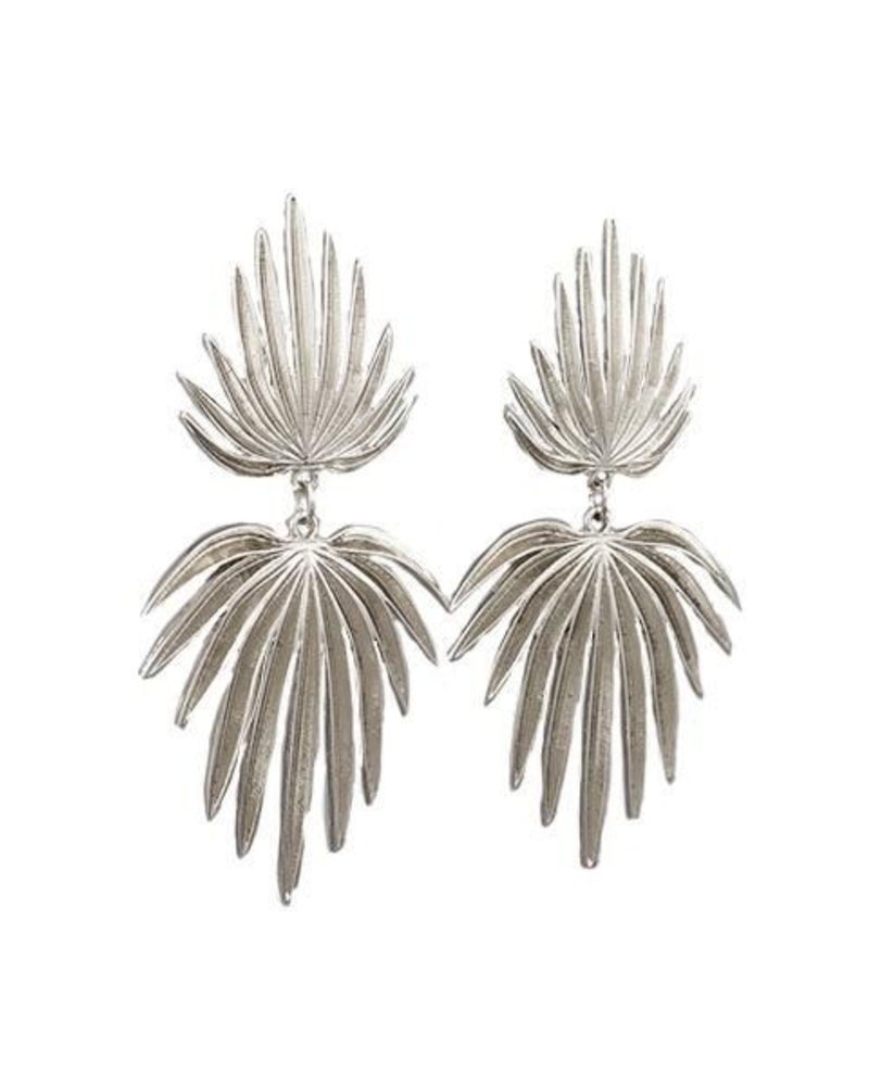 Clip On Double Palm Leaf Earrings