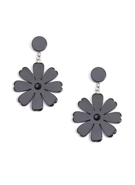 Lucite Flower Drop Earrings In Black