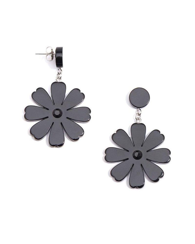 Lucite Flower Drop Earrings In Black
