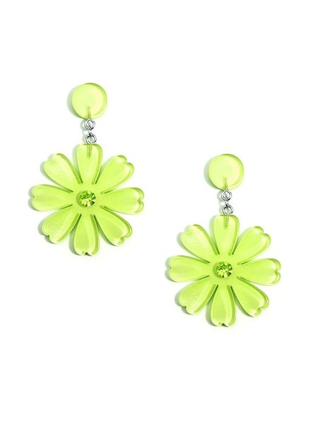 Lucite Flower Drop Earrings In Lime