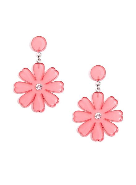 Lucite Flower Drop Earrings In Pink