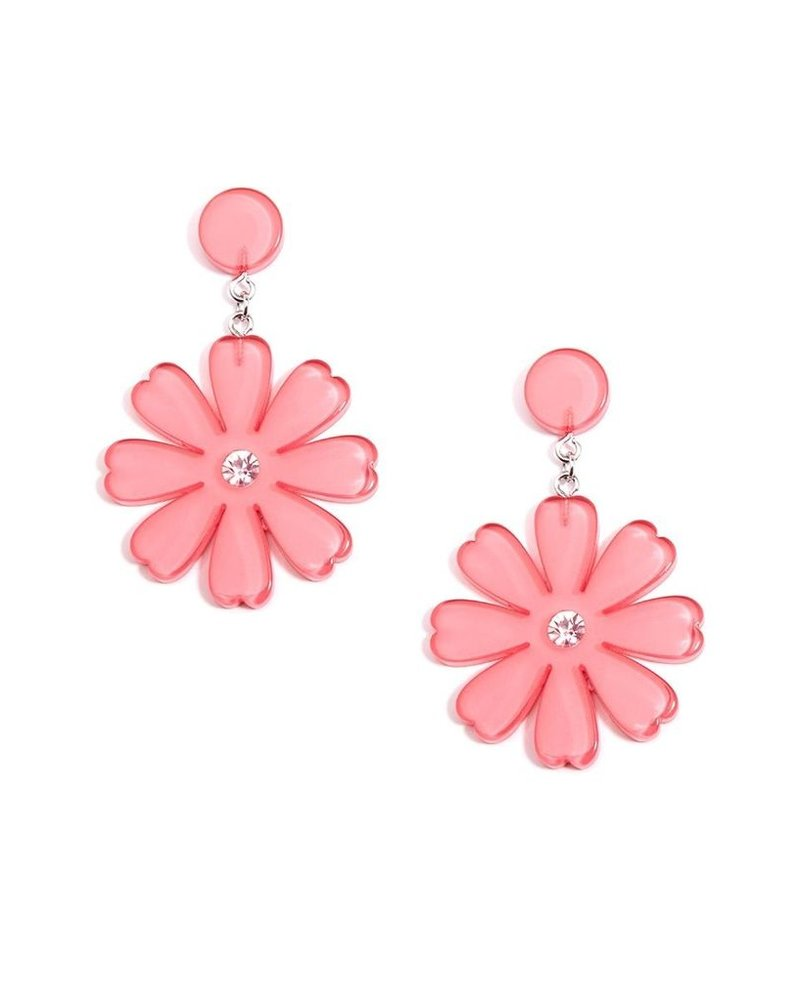 Lucite Flower Drop Earrings In Pink