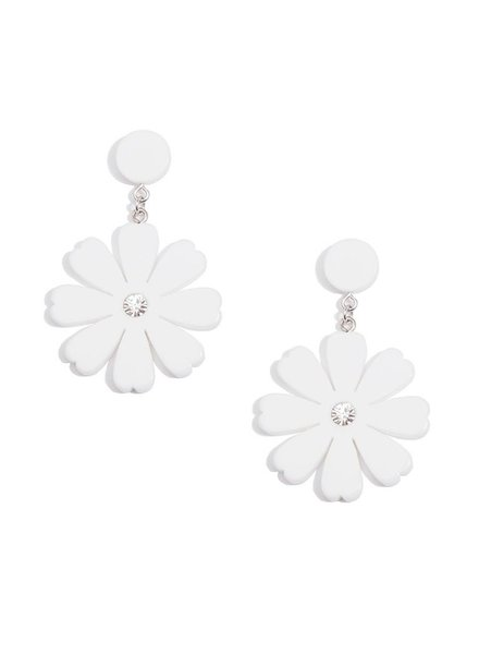 Lucite Flower Drop Earrings In White