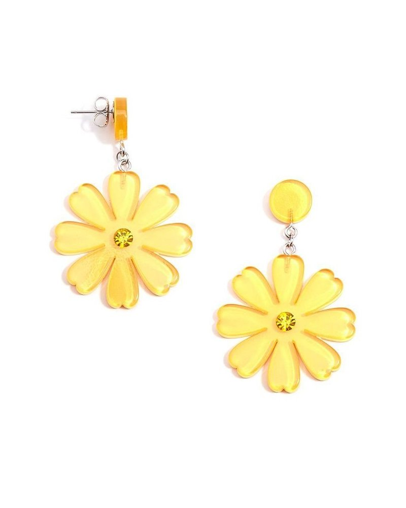Lucite Flower Drop Earrings In Yellow